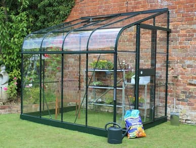 Halls Silverline Green 6x8 Lean to Greenhouse - 3mm Toughened Glazing