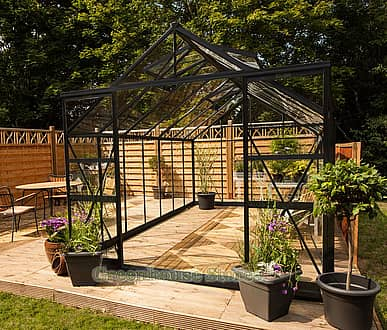 Eden Regal 8x14 Black Greenhouse - Horticultural Glazing