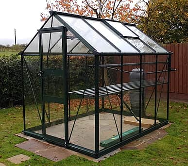 Halls Cotswold Burford Green 8x6 Greenhouse - Toughened Glazing