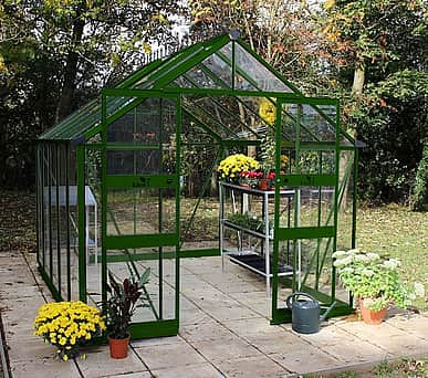 Halls Cotswold Blockley Green 8x10 Greenhouse - Toughened Glazing