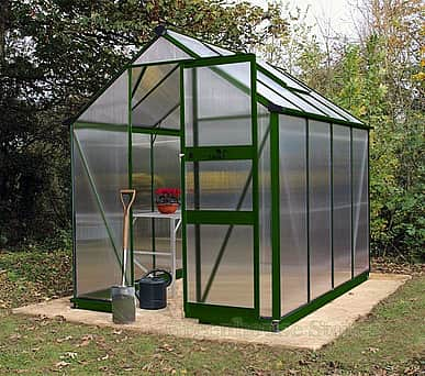 Halls Cotswold Burford Green 8x6 Greenhouse - Polycarbonate Glazing