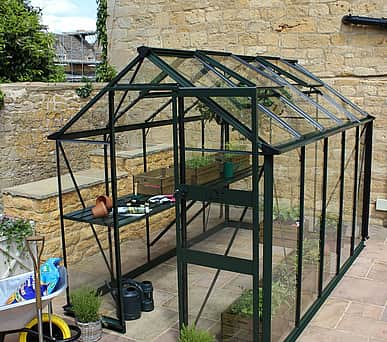 Halls Cotswold Burford Green 6x10 Greenhouse - Toughened Glazing