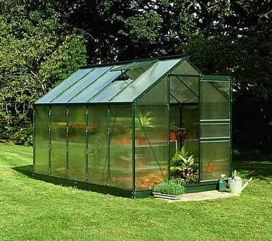 6x10 Green Halls Popular Greenhouse - Polycarbonate Glazing