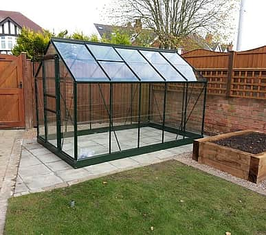 6x10 Green Halls Popular Greenhouse - Toughened Glass