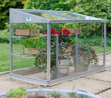 2x4 Lichfield Aluminium Mini Growhouse - Toughened Glass
