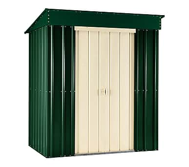 Lotus 8x3 Pent Metal Shed Heritage Green