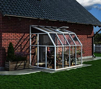 Rion Sun Room 6x8 Lean to Greenhouse - Polycarbonate Glazing