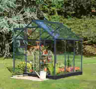 6x6 Anthracite Grey Halls Popular Greenhouse - Horticultural Glass