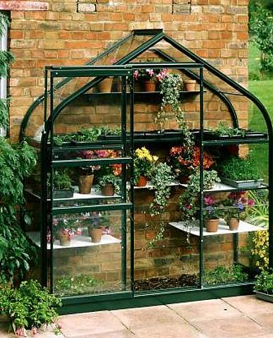 2x6 Green Halls Supreme Wall Garden Lean to - Toughened Glass