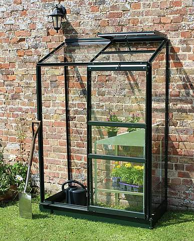 2x4 Green Halls Wall Garden Lean to Greenhouse - Horticultural Glass