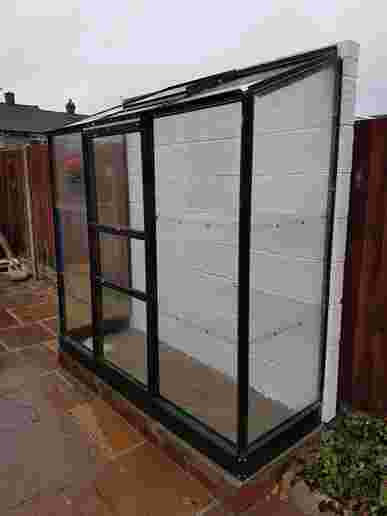 2x6 Green Halls Wall Garden Lean to Greenhouse - Toughened Glass