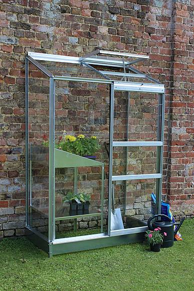 2x4 Halls Wall Garden Lean to Greenhouse - Toughened Glass