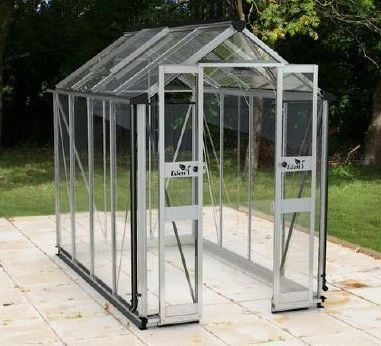 Eden birdlip 4x6 greenhouse toughened greenhouse stores for Jardin 4x6 shed
