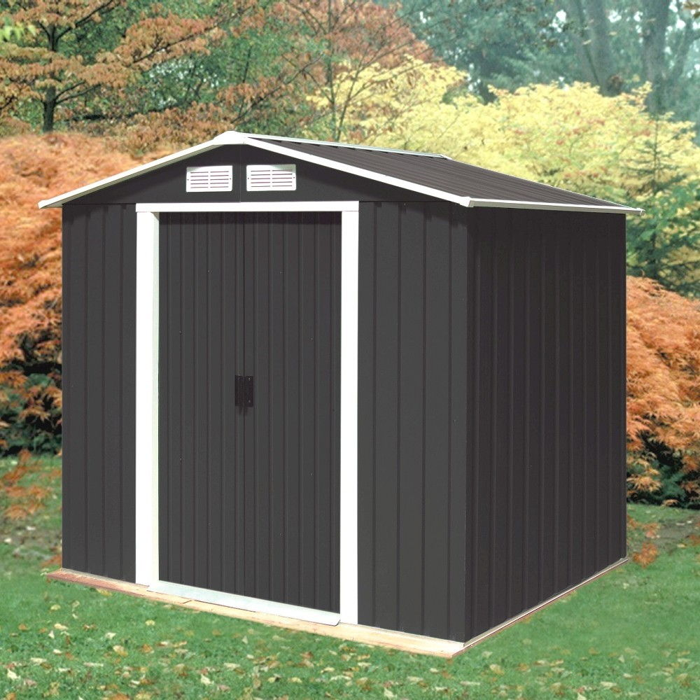 Emerald anthracite parkdale 6x4 metal shed for Steel shed plans free