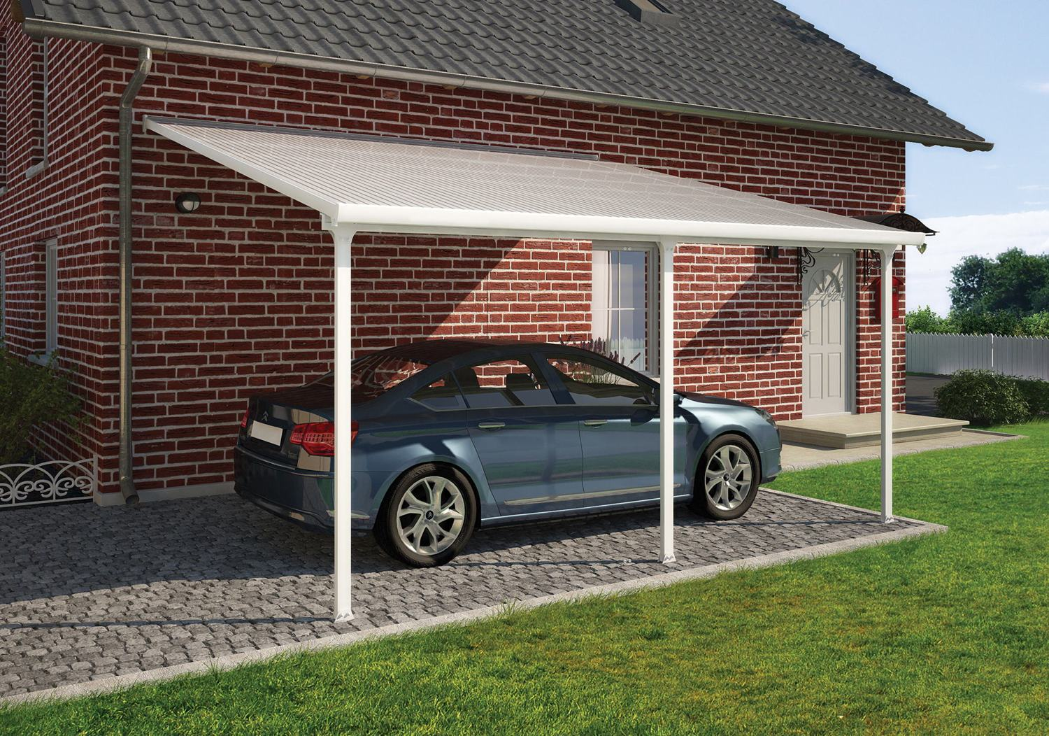 Palram feria 4m carport in 2 lengths greenhouse stores for 4 car carport plans