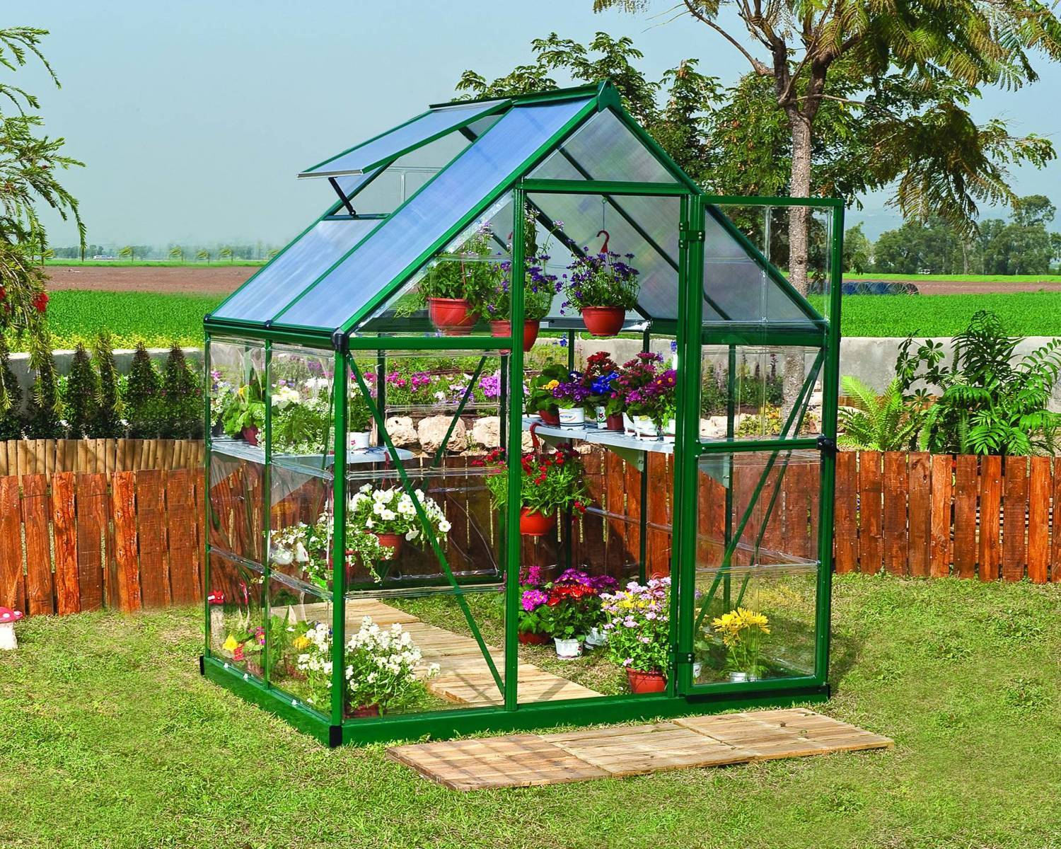 palram hybrid 6x4 green polycarbonate greenhouse. Black Bedroom Furniture Sets. Home Design Ideas