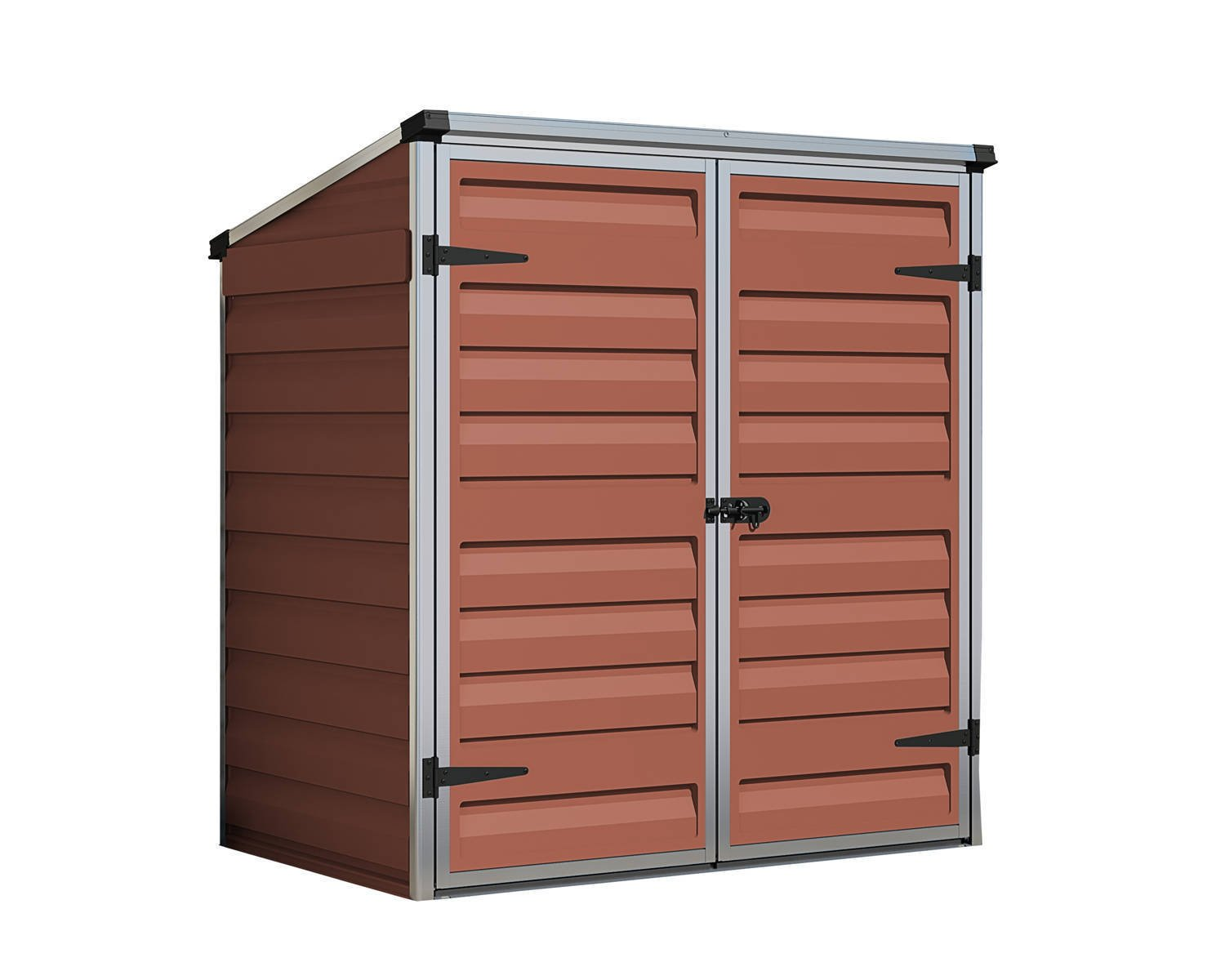 Palram voyager 4x3 plastic storage unit amber for Sheds and storage units