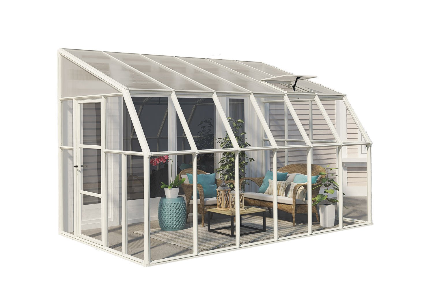 Rion sun room 8x12 lean to greenhouse polycarbonate for Sunroom blueprints free