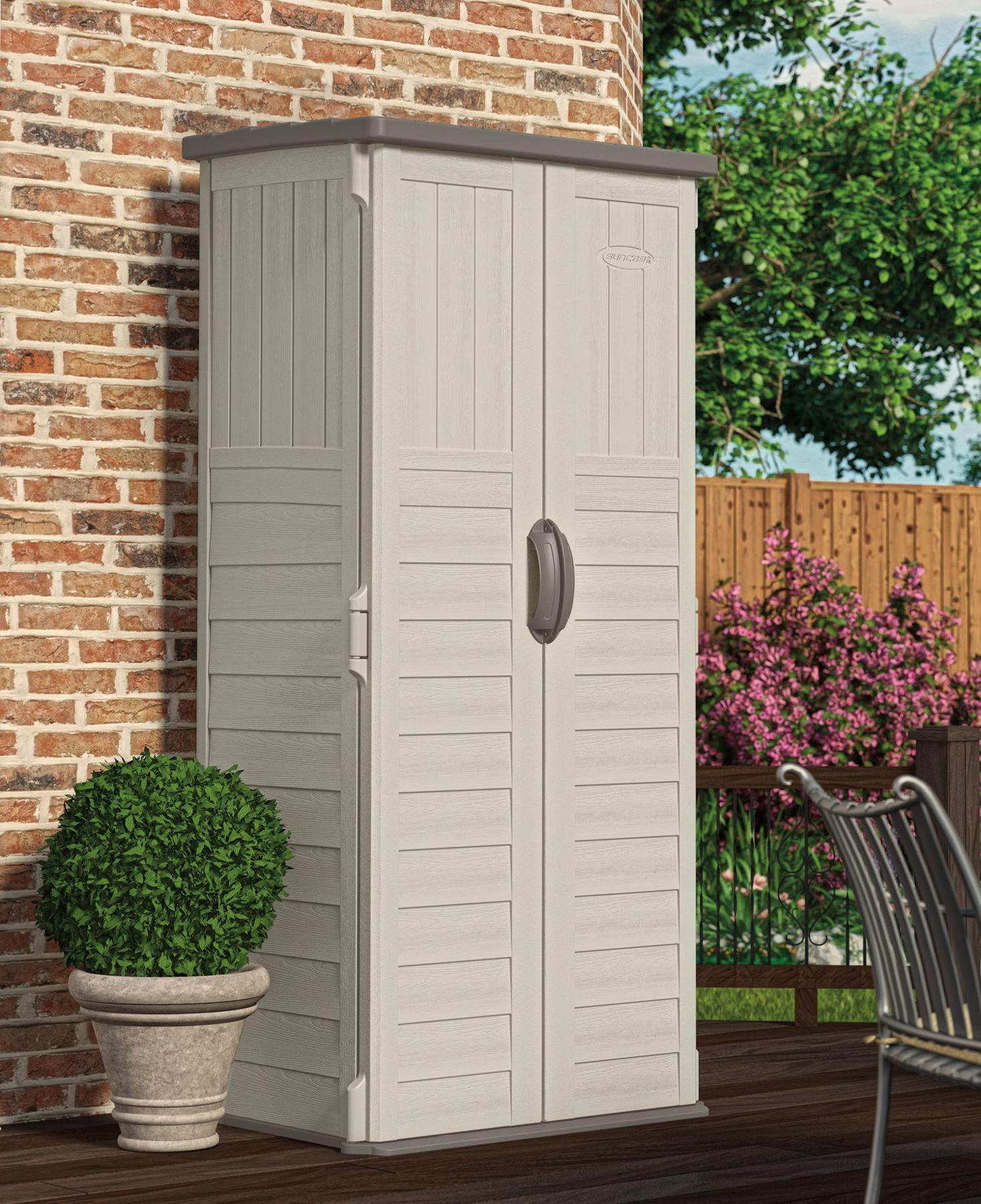 Suncast 3x2 mannington plastic garden storage shed for Garden shed shelving