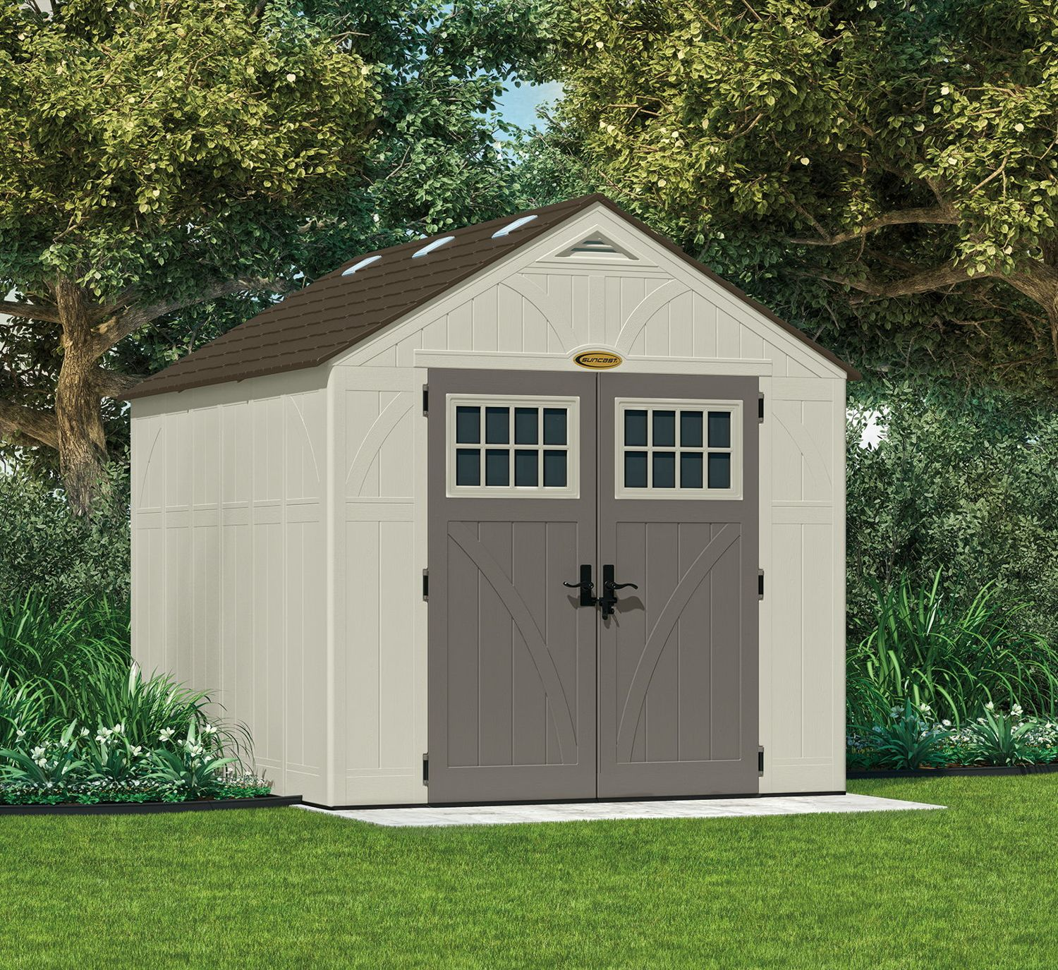 Suncast 8x10 Tremont Three Plastic Shed Greenhouse Stores