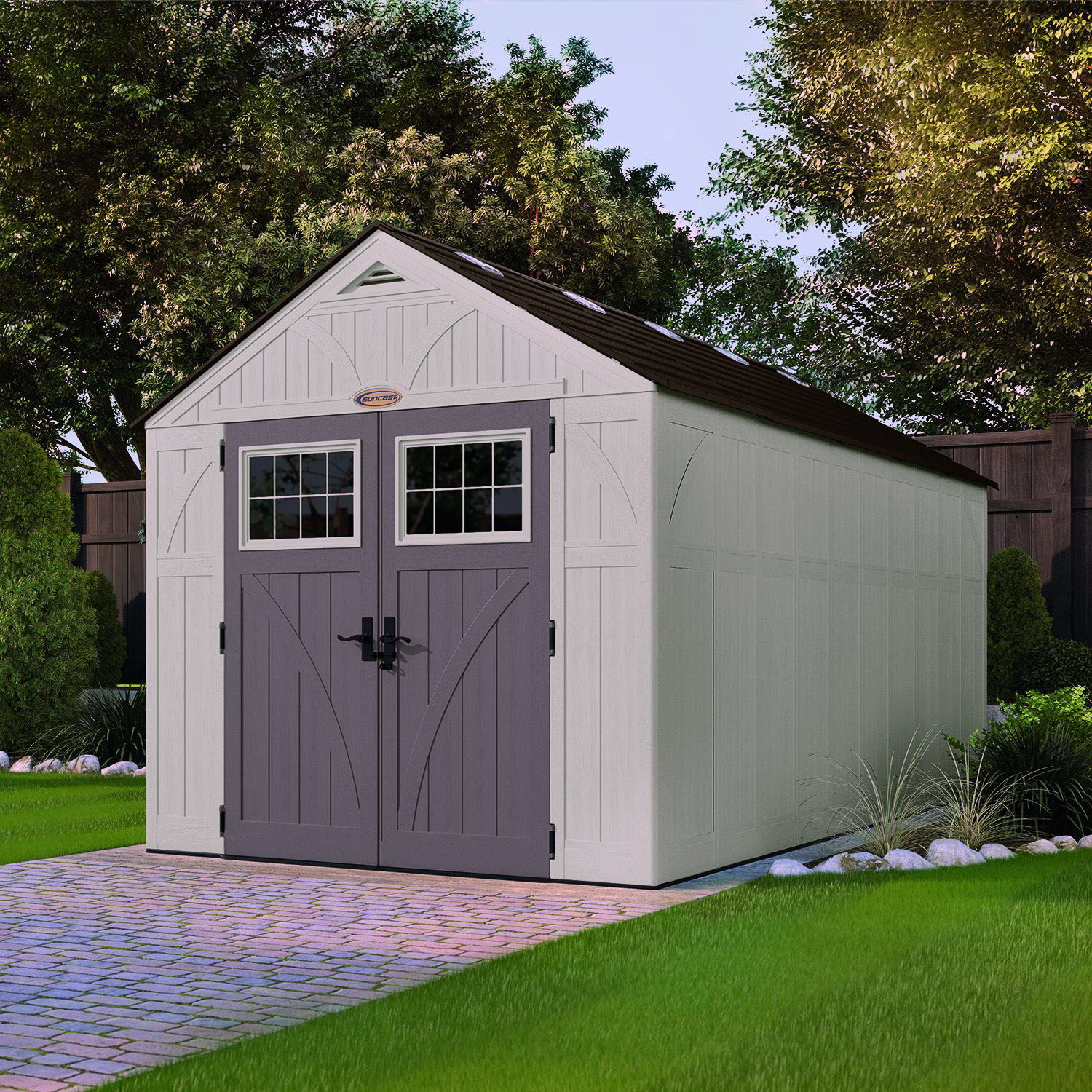 Suncast 8x16 Tremont One Plastic Shed Greenhouse Stores