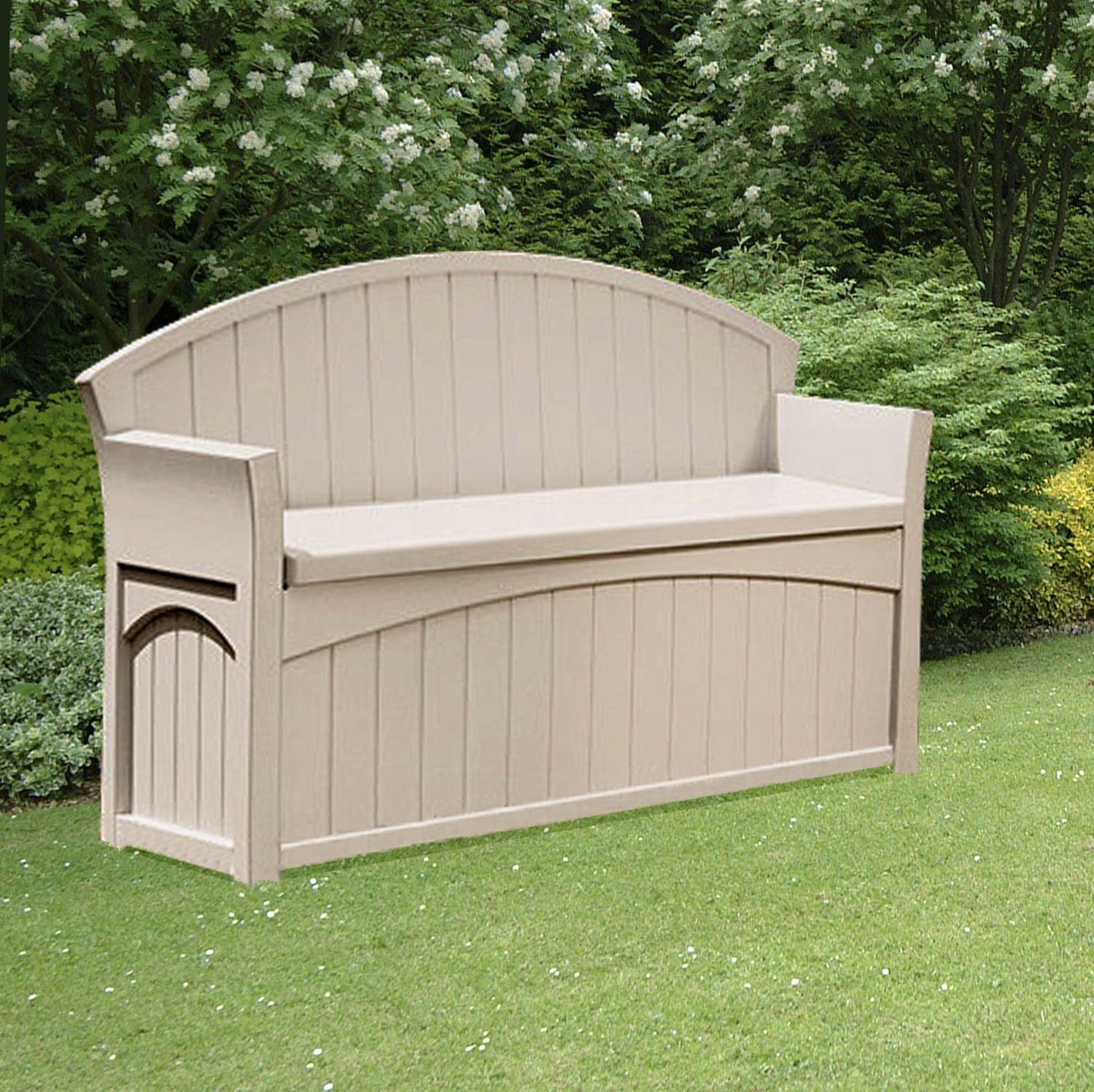 Outdoor Patio Furniture Storage: Suncast 189 Litre Plastic Storage Bench