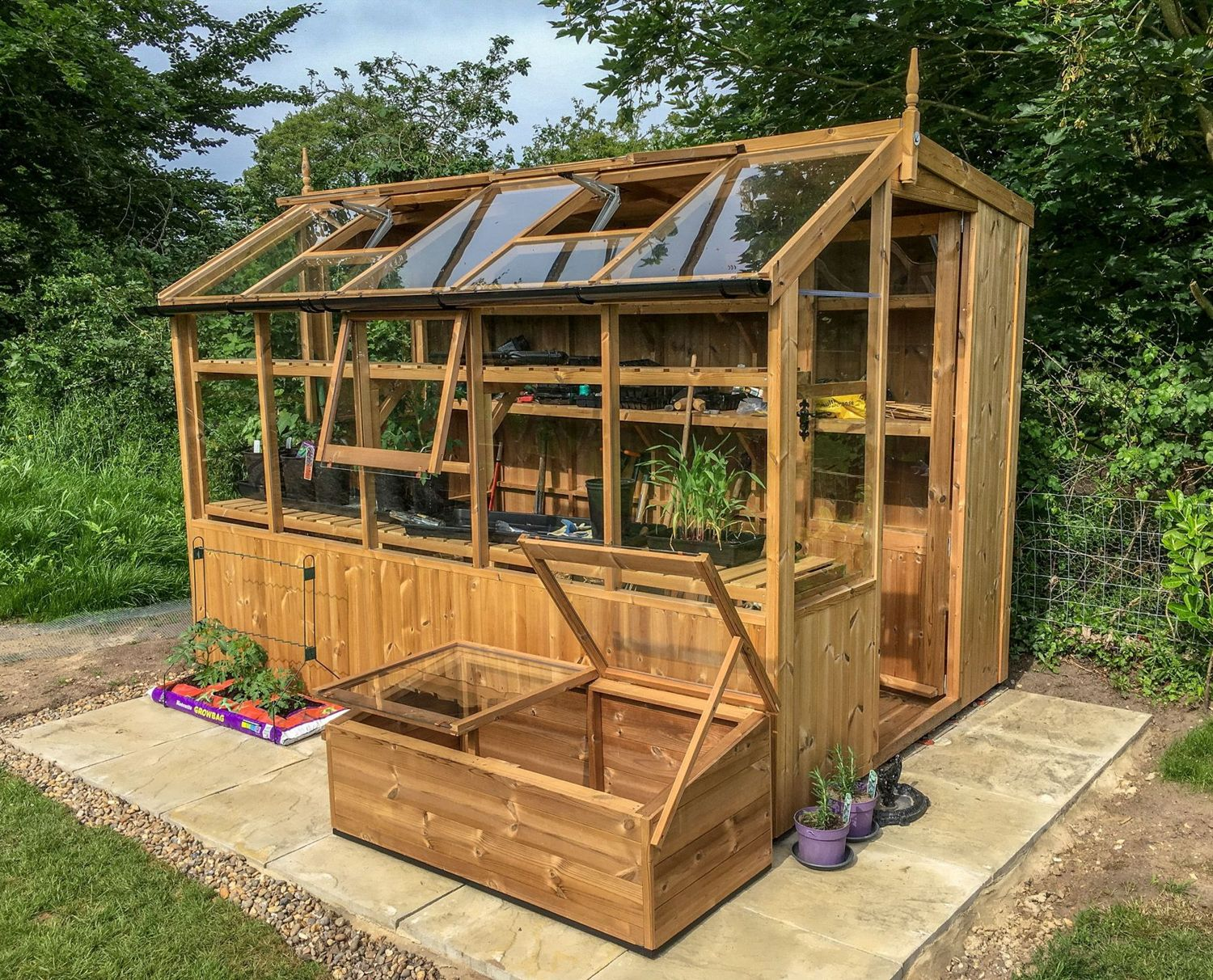 Swallow jay 6x8 wooden potting shed greenhouse stores for Potting shed