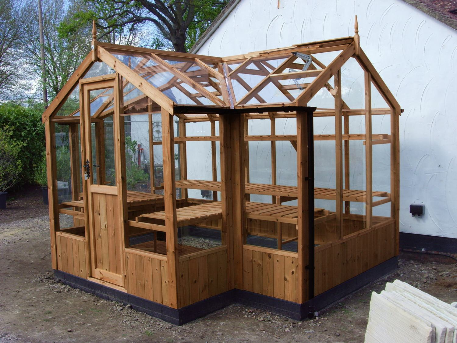 Swallow cygnet 6x11 t shaped wooden greenhouse - How to build a wooden greenhouse ...
