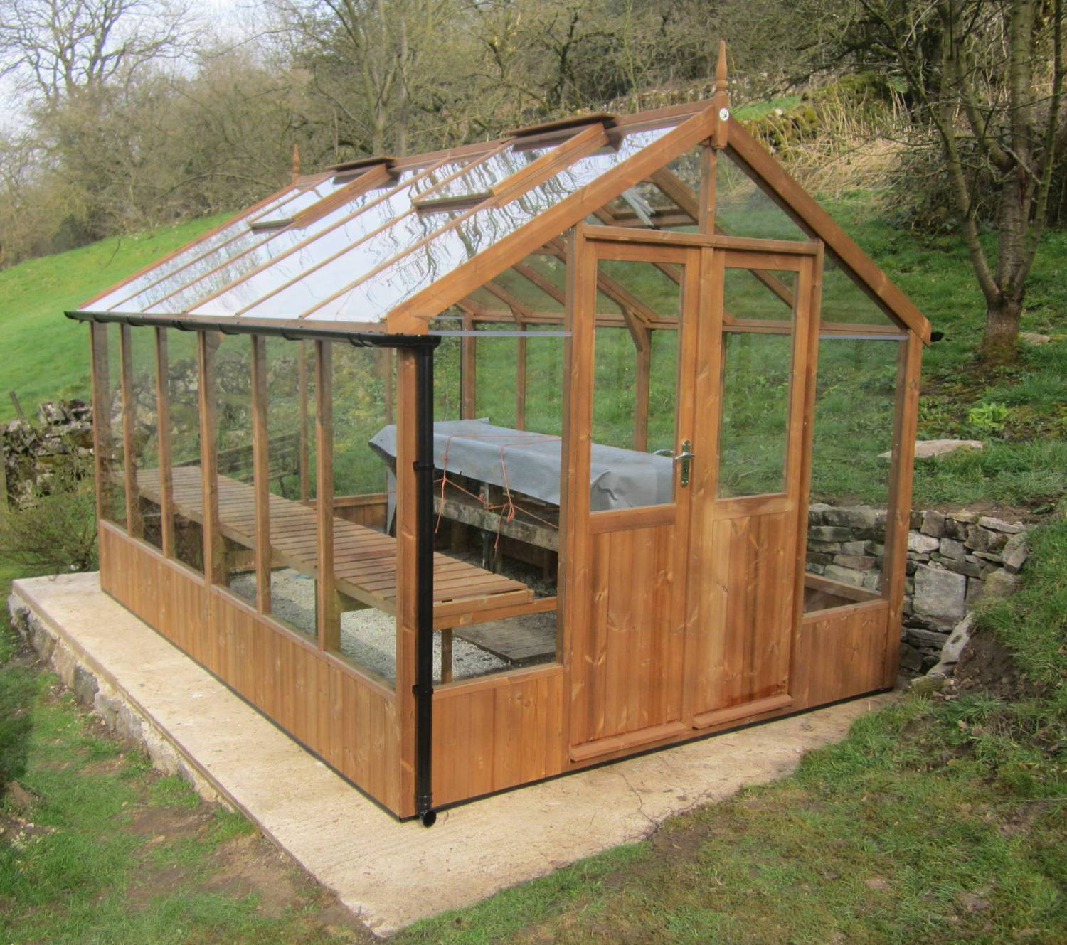 Swallow raven 8x8 wooden greenhouse greenhouse stores for Small wooden greenhouse plans