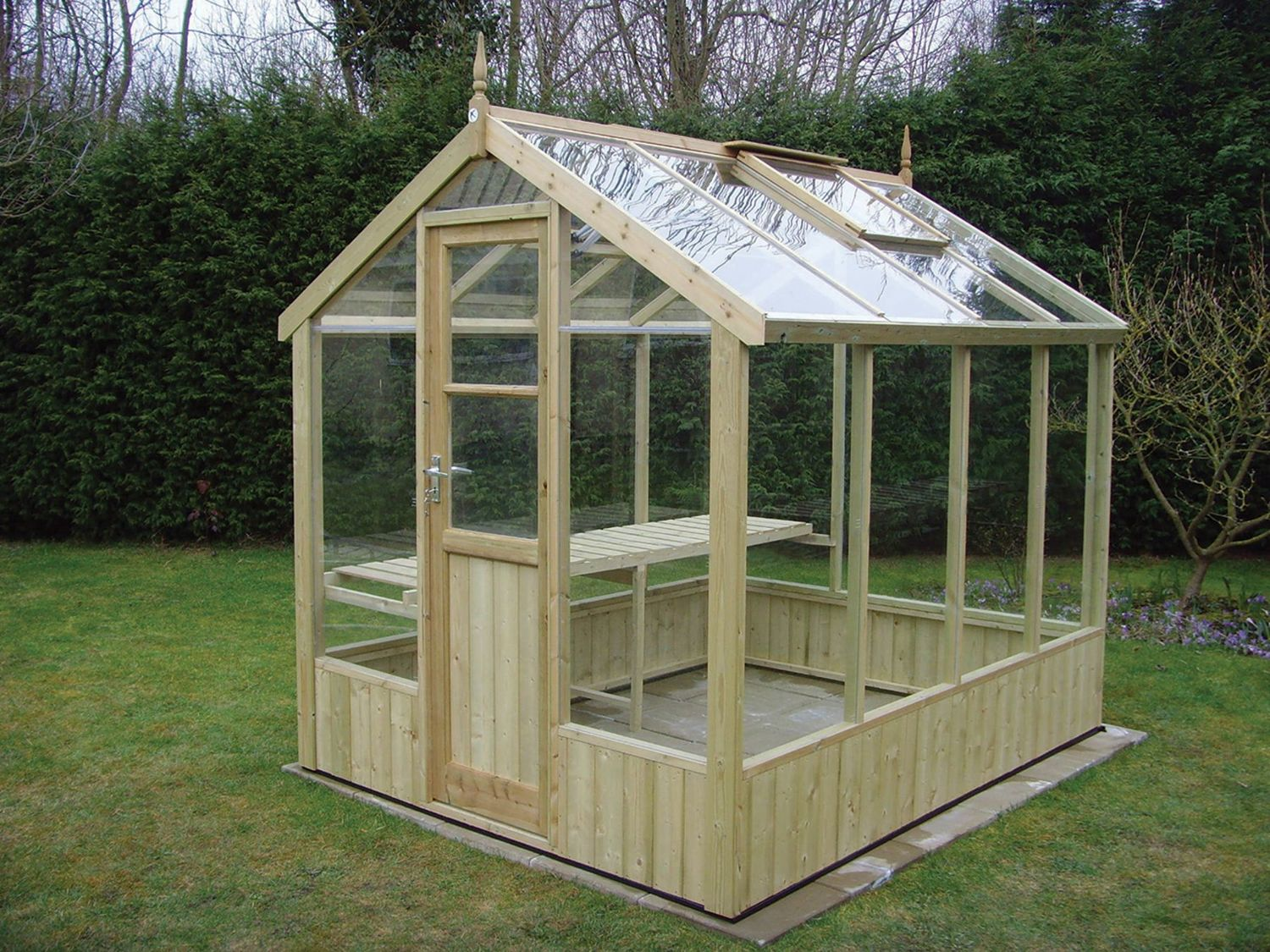 Swallow kingfisher 6x8 wooden greenhouse greenhouse stores for Small wooden greenhouse plans
