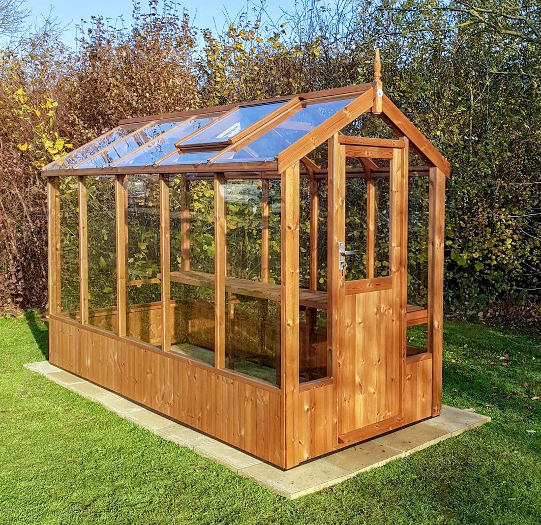 Swallow%20Lark%204x10%20Wooden%20Greenhouse%20in%20Thermowood Palateum Greenhouse Designs on