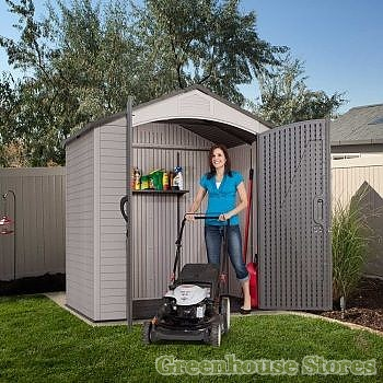Lifetime 7x4 5 plastic shed greenhouse stores for Garden shed 7x4