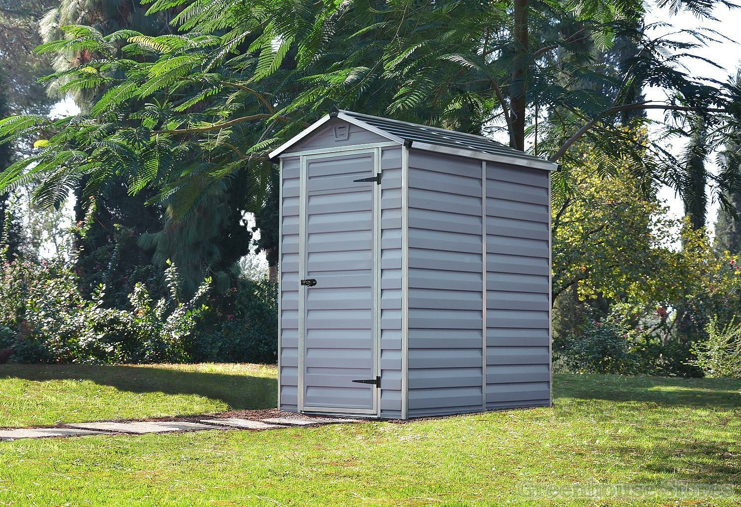 Palram 4x6 plastic skylight grey shed greenhouse stores for Garden shed 4x6