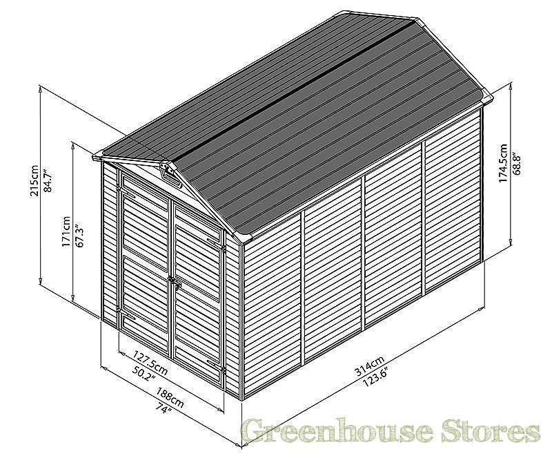 Palram 6 X 10 Plastic Skylight Shed Greenhouse Stores