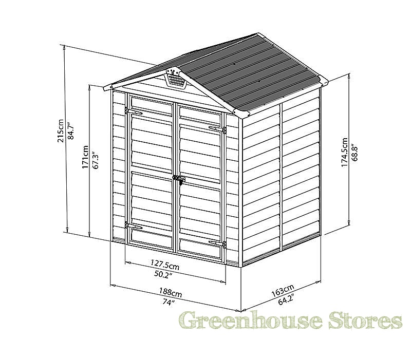 Palram 6x5 Plastic Skylight Grey Shed Greenhouse Stores