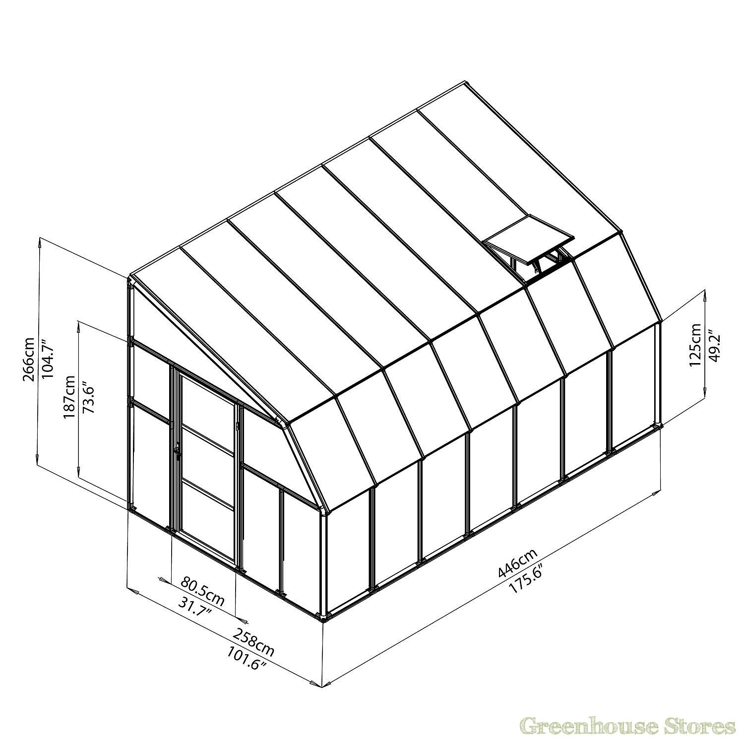 Rion Sun Room 8x14 Lean To Greenhouse Polycarbonate