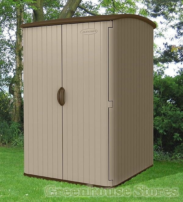 Suncast 5x4 conniston three plastic garden shed for Sheds storage buildings