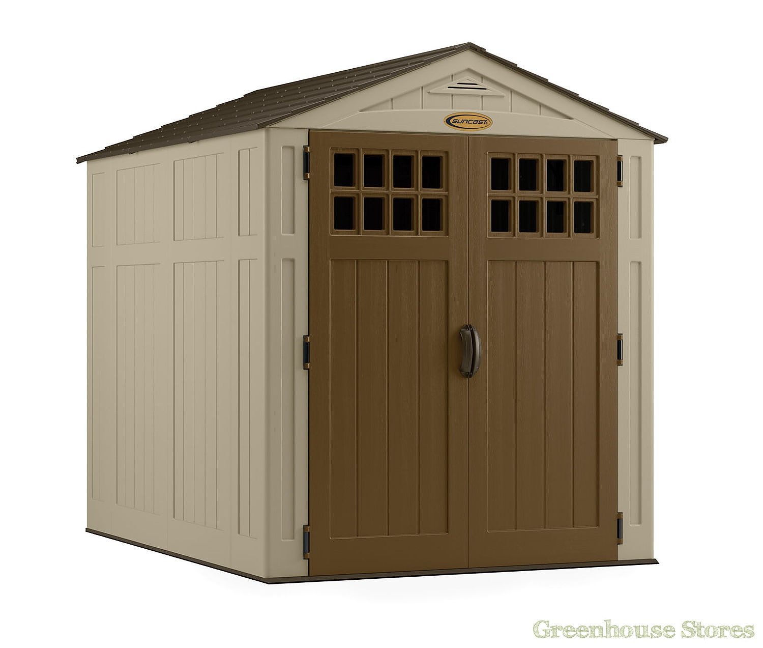 Suncast 6x8 adlington three plastic garden shed for Garden shed 8 x 6