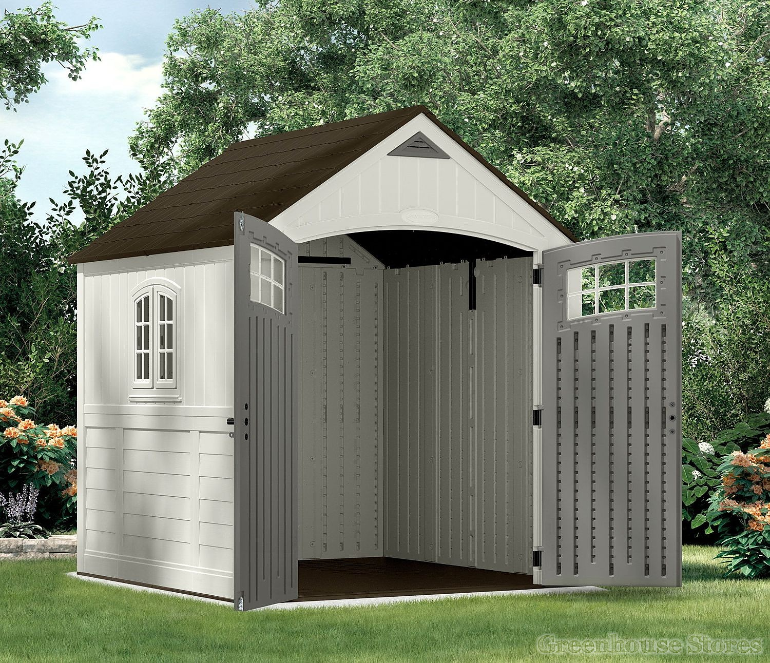 Suncast 7x7 Cascade Two Plastic Shed Greenhouse Stores