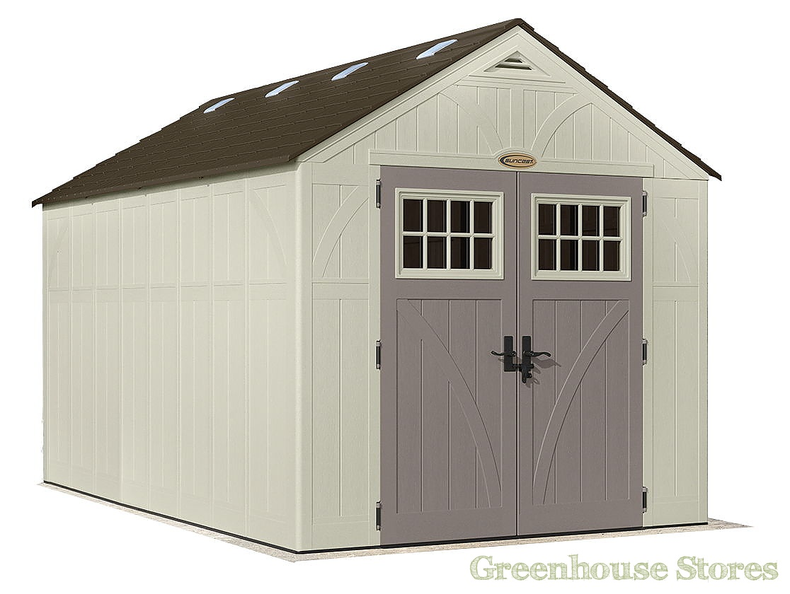 Suncast 8x13 tremont two plastic garden shed for Sheds storage buildings