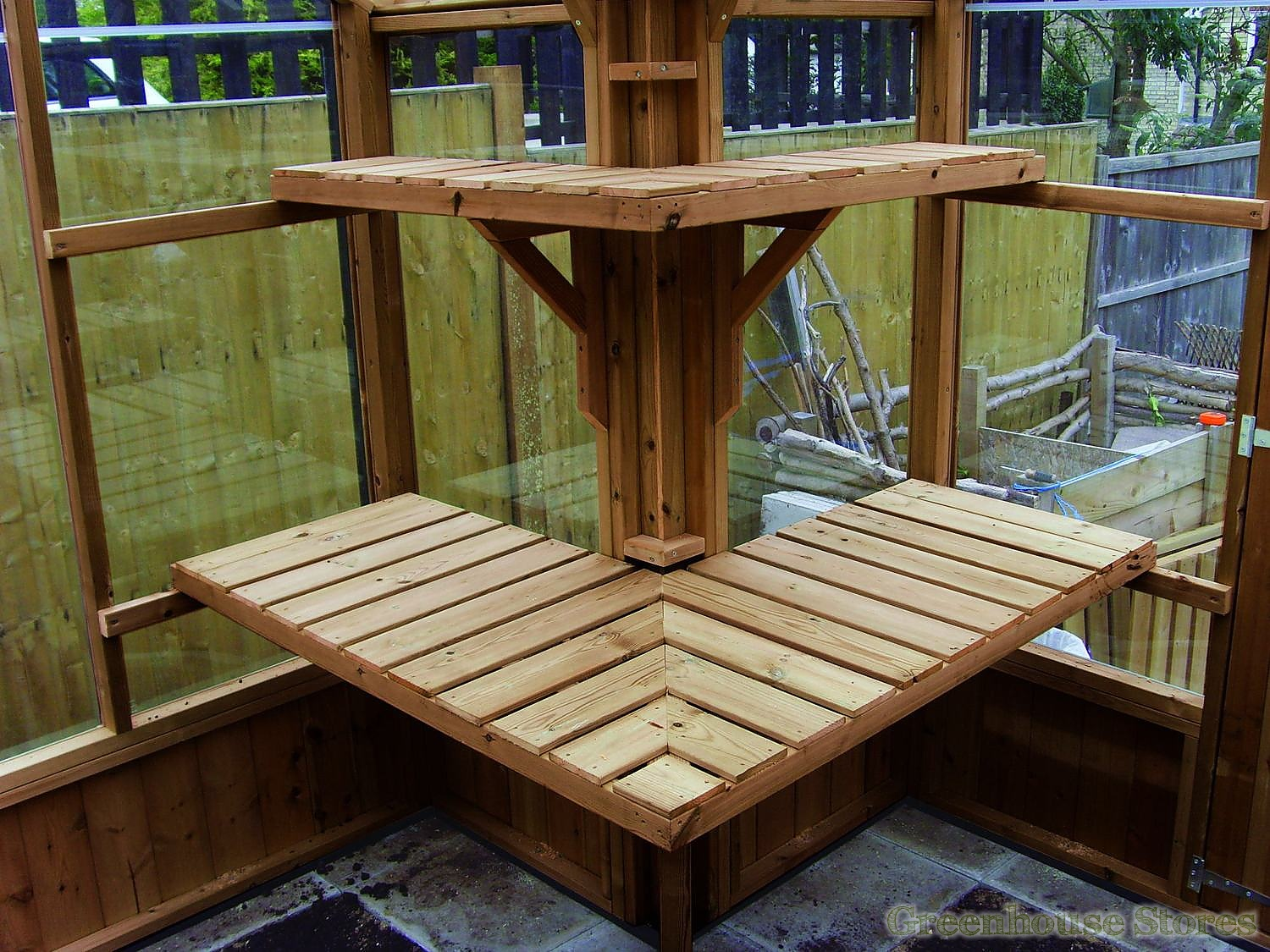 Swallow returned staging and shelving in thermowood - Wooden staging for greenhouse ...