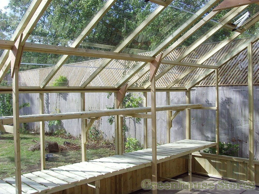 Swallow falcon 13x12 wooden greenhouse greenhouse stores - Wooden staging for greenhouse ...