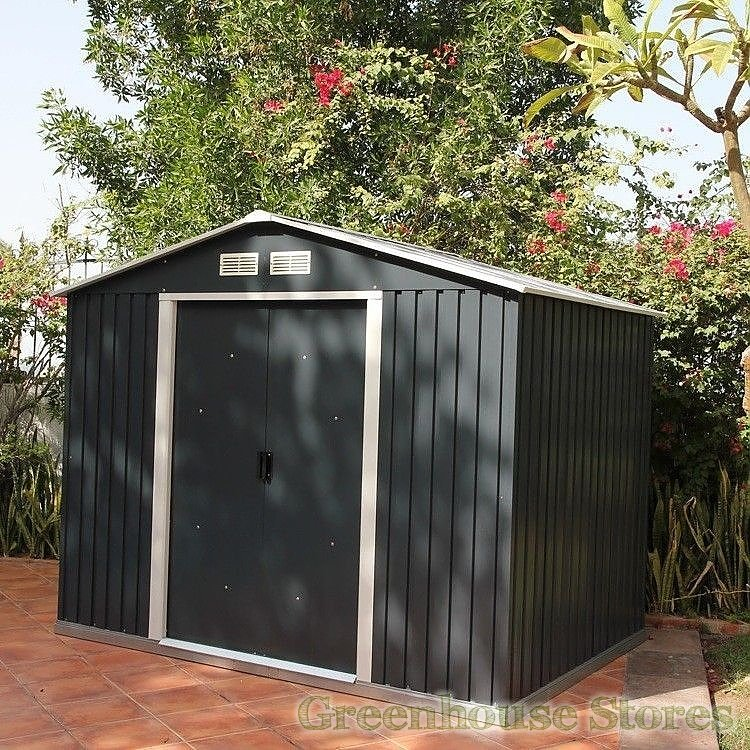 8x10 Metal Shed >> Emerald Anthracite Rosedale 8x10 Metal Shed