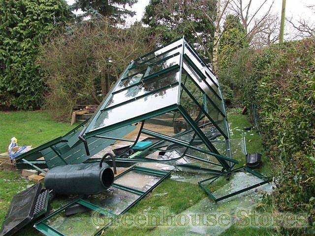 Greenhouse Destroyed By Wind Storms