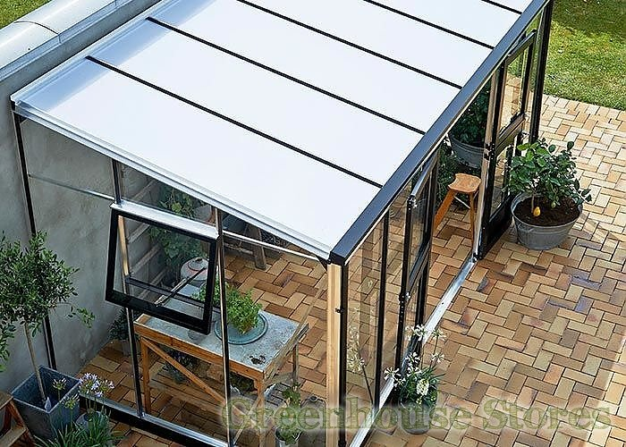 juliana 7x14 silver lean to greenhouse with 10mm roof glazing