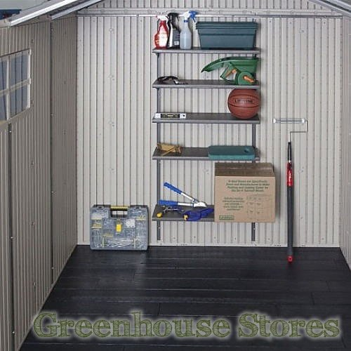 Lifetime 15x8 double entrance plastic shed for Attaching shelves to plastic shed