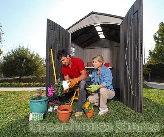 Lifetime 8x5 plastic shed greenhouse stores for Garden shed 8x5