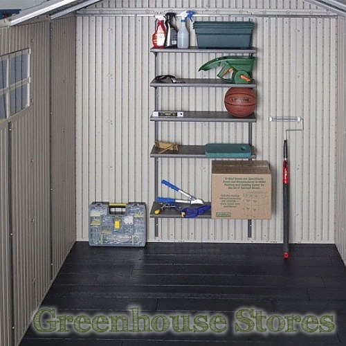 Lifetime 11x11 tri fold doors plastic shed for Attaching shelves to plastic shed