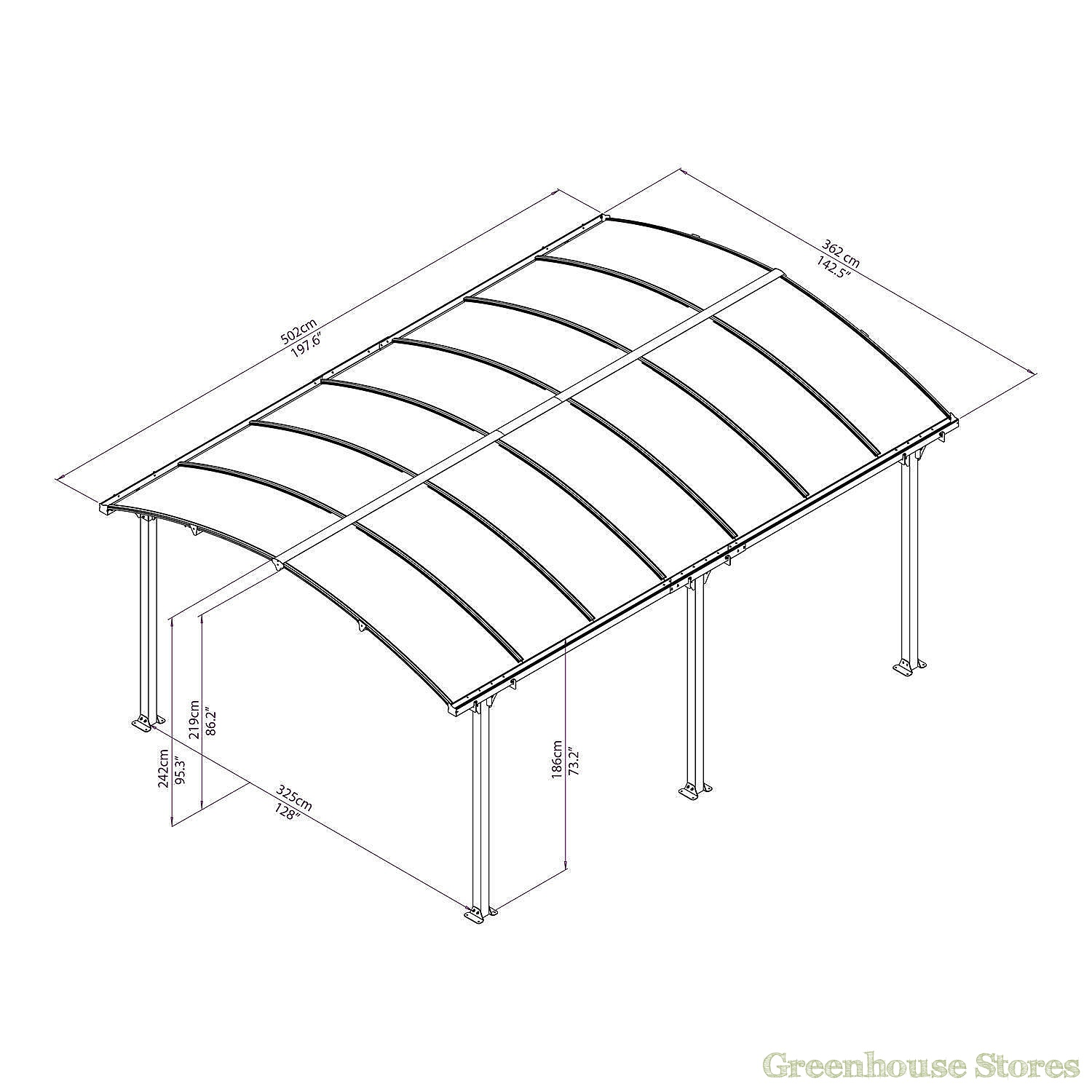 Palram arcadia 5000 carport greenhouse stores for Single car carport dimensions