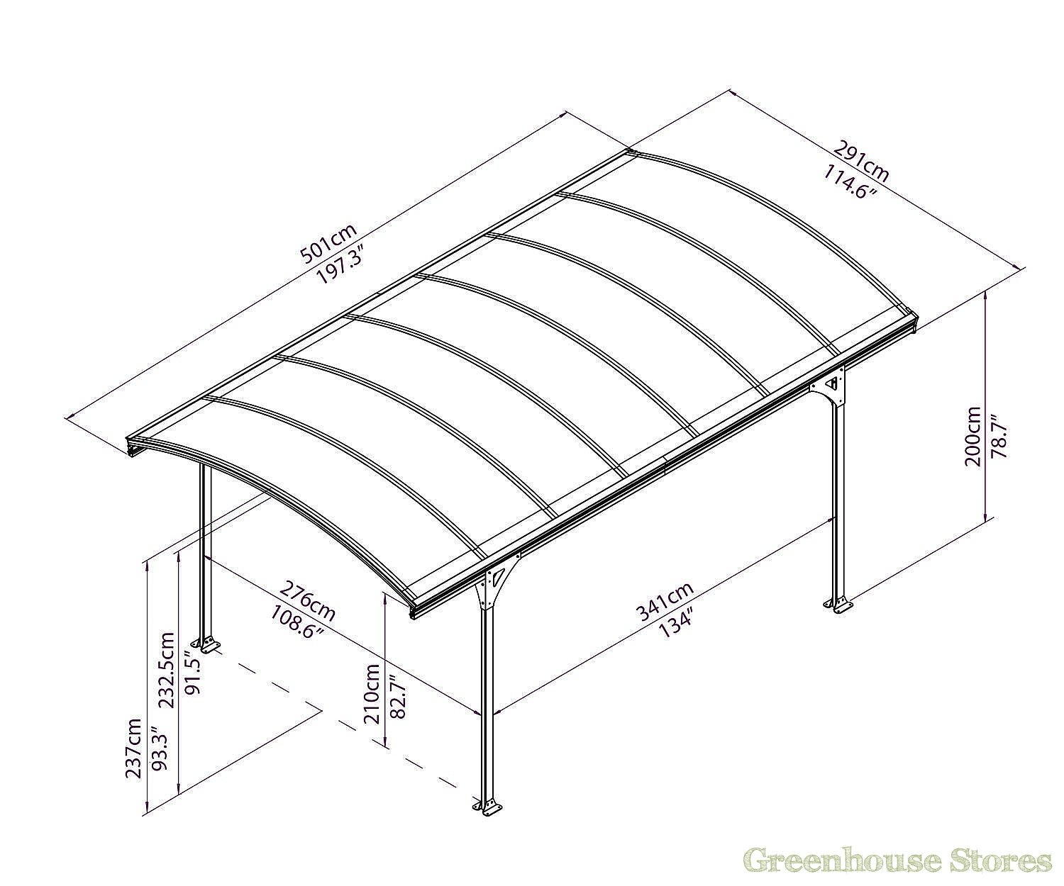 Palram vitoria 5000 carport greenhouse stores for Carport width
